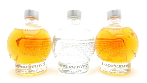 Cooperstown Distillery Doubleday Baseball Bourbon Whiskey Vodka Miniature Bottle Collection Baseball Bourbon Whiskey