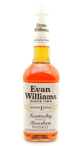 Evan Williams White Label Bourbon Whiskey Bottled in Bond 100 Proof
