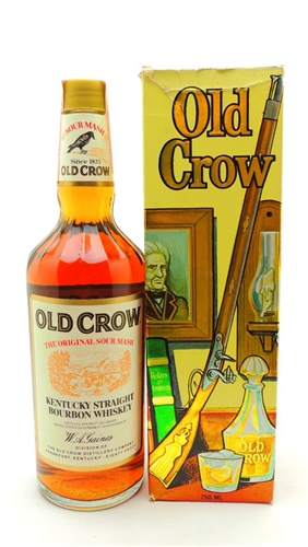 Old Crow Bourbon Liter With Vintage Gift Box