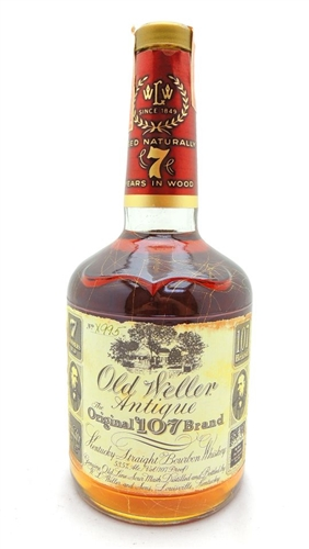 Old Weller Antique 107 Bourbon Whiskey 1992 Gold Vein Bottle