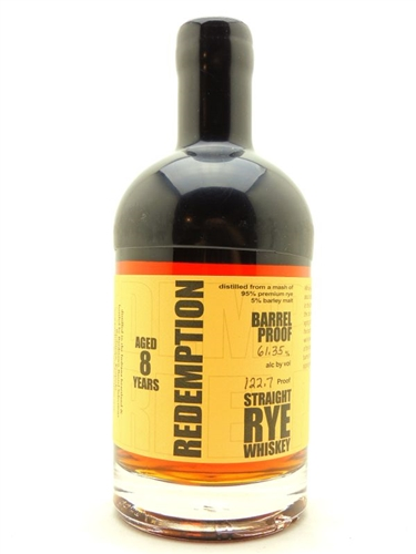 Redemption Barrel Proof Rye Whiskey 8 Years Old