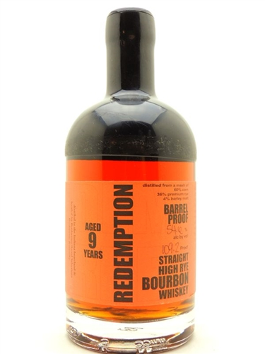 Redemption Barrel Proof High Rye Whiskey 9 Years Old