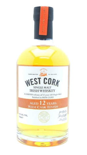 West Cork 12 Year Old Rum Cask Finish Irish Whiskey
